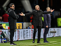 Burnley's manager Sean Dyche reacts as Huddersfield Town's manager David Wagner looks on<br /> <br /> Photographer Andrew Kearns/CameraSport<br /> <br /> The Premier League - Huddersfield Town v Burnley - Wednesday 2nd January 2019 - John Smith's Stadium - Huddersfield<br /> <br /> World Copyright © 2019 CameraSport. All rights reserved. 43 Linden Ave. Countesthorpe. Leicester. England. LE8 5PG - Tel: +44 (0) 116 277 4147 - admin@camerasport.com - www.camerasport.com