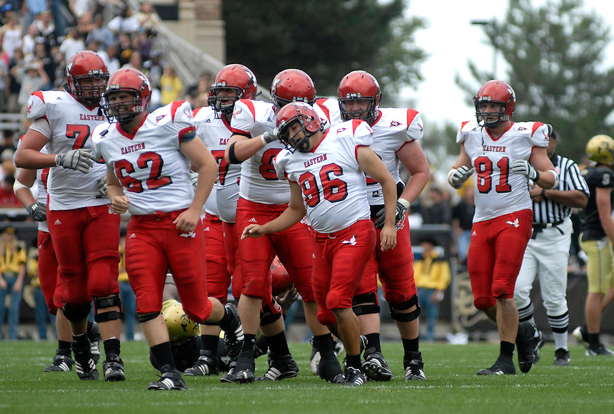 06 September 08: Eastern Washington special teams players congratulate kicker Felipe Macias (96) after he kicked a field goal against Colorado. The Colorado Buffaloes defeated the Eastern Washington Eagles 31-24 at Folsom Field in Boulder, Colorado. FOR EDITORIAL USE ONLY