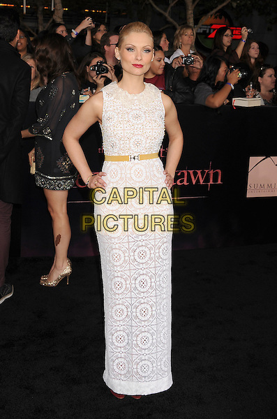 MyAnna Buring.The Los Angeles premiere of 'The Twilight Saga Breaking Dawn Part 1' at Nokia Theatre at L.A. Live in Los Angeles, California, USA..November 14th, 2011.full length sleeveless white dress crochet belt hand on hip maxi .CAP/ROT/TM.©Tony Michaels/Roth Stock/Capital Pictures