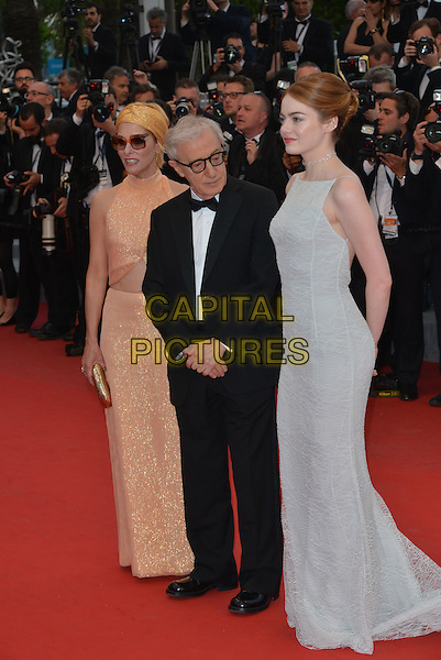 Parker Posey, Woody Allen, and Emma Stone attend the Premiere of 'Irrational Man' during the 68th annual Cannes Film Festival on May 15, 2015 in Cannes, France.<br /> CAP/PL<br /> &copy;Phil Loftus/Capital Pictures