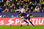 Jorge Andujar Moreno, Coke, of Levante UD (front) fights for the ball with Cristiano Ronaldo of Real Madrid (back) during the La Liga 2017-18 match between Levante UD and Real Madrid at Estadio Ciutat de Valencia on 03 February 2018 in Valencia, Spain. Photo by Maria Jose Segovia Carmona / Power Sport Images