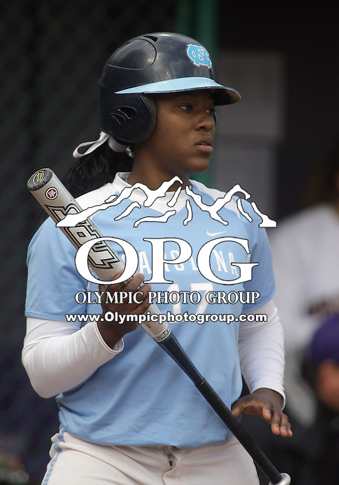 23 May 2010:   University of North Carolina #17 Constance Orr sets up in the baters box against Washington. Washington defeated the University of North Carolina 2-1 in eight innings at Husky Softball Stadium in Seattle, WA to advance in the NCAA regional tournament.