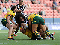 New Zealand's Teuila Fotu-Moala is tackled during the women's Rugby League World Cup final between Australia and New Zealand, Suncorp Stadium, Brisbane, Australia, 2 December 2017. Copyright Image: Tertius Pickard / www.photosport.nz MANDATORY CREDIT/BYLINE : Tertius Pickard/SWpix.com/PhotosportNZ