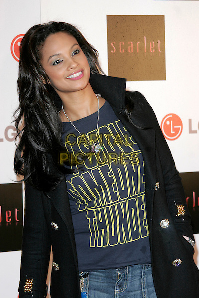 "ALESHA DIXON.""Scarlet"" - TV series launch, No. 1 Marylebone, Marylebone Road, London, England..April 30th, 2008.half length black jacket coat blue top slogan i stole someones thunder .CAP/AH.©Adam Houghton/Capital Pictures."