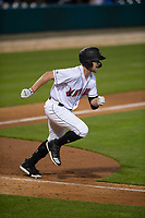 Indianapolis Indians pinch hitter Patrick Kivlehan (47) hustles down the first base line during an International League game against the Columbus Clippers on April 29, 2019 at Victory Field in Indianapolis, Indiana. Indianapolis defeated Columbus 5-3. (Zachary Lucy/Four Seam Images)