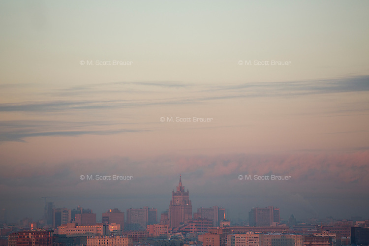A view of buildings in Moscow from Smotrovaya Ploshadka (Viewing Square) in the Vorobyevy Gory (Sparrow Hills) near Moscow State University in Moscow, Russia.