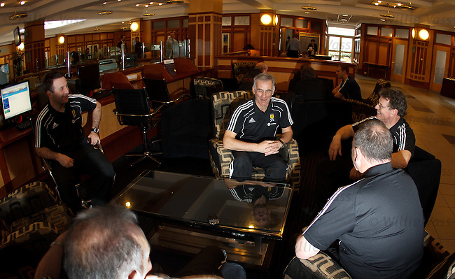 Scotland U21 coach Jim Fleeting at the team meetup in Clydenabk