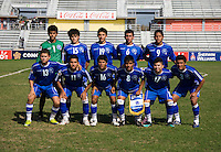 El Salvador lines up before the quarterfinals of the CONCACAF Men's Under 17 Championship at Catherine Hall Stadium in Montego Bay, Jamaica. The USA defeated El Salvador, 3-2, in overtime.