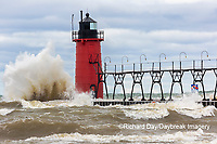 64795-02216 South Haven Lighthouse with high waves crashing South Haven,  MI
