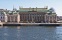 Riddarhuset, House of the Nobility, 17th century in Gamla Stan, Old Town. From the water front. Stockholms Ström water. Stockholm. Sweden, Europe.