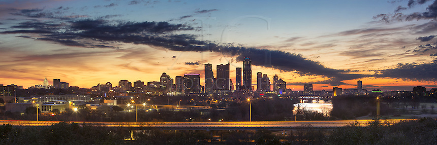 Sunrise on a Sunday morning from Austin, Texas... ..I recently discovered this location even though it is fairly well known to others. This panorama of the Austin Skyline looks east across Town Lake. In the skyline are the Austin high rises including Hyatt Hotel, the Austonian, the 360 Condominiums, and the Texas State Capitol on the far left.