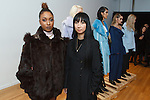 Fashion designer Nika Tang (center) poses Cyrene Tankard from the Bravo TV show Thicker Than Water (left), and models during her Nika Tang Fall Winter 2016 fashion presentation, during New York Fashion Week Fall 2016.