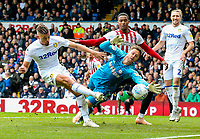 Leeds United's Kalvin Phillips hits the post under pressure from Brentford's Luke Daniels<br /> <br /> Photographer Alex Dodd/CameraSport<br /> <br /> The EFL Sky Bet Championship - Leeds United v Brentford - Saturday 6th October 2018 - Elland Road - Leeds<br /> <br /> World Copyright &copy; 2018 CameraSport. All rights reserved. 43 Linden Ave. Countesthorpe. Leicester. England. LE8 5PG - Tel: +44 (0) 116 277 4147 - admin@camerasport.com - www.camerasport.com