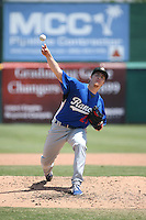 Josh Sborz (27) of the Rancho Cucamonga Quakes pitches against the Inland Empire 66ers at San Manuel Stadium on April 27, 2016 in San Bernardino, California. Rancho Cucamonga defeated Inland Empire, 2-1. (Larry Goren/Four Seam Images)