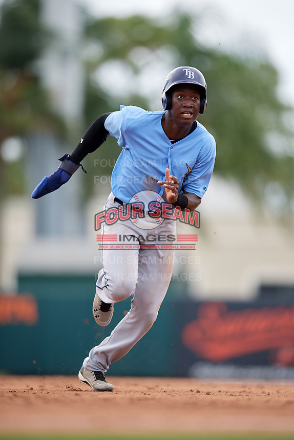 Tampa Bay Rays Jesus Sanchez (71) running the bases during an Instructional League game against the Baltimore Orioles on October 2, 2017 at Ed Smith Stadium in Sarasota, Florida.  (Mike Janes/Four Seam Images)