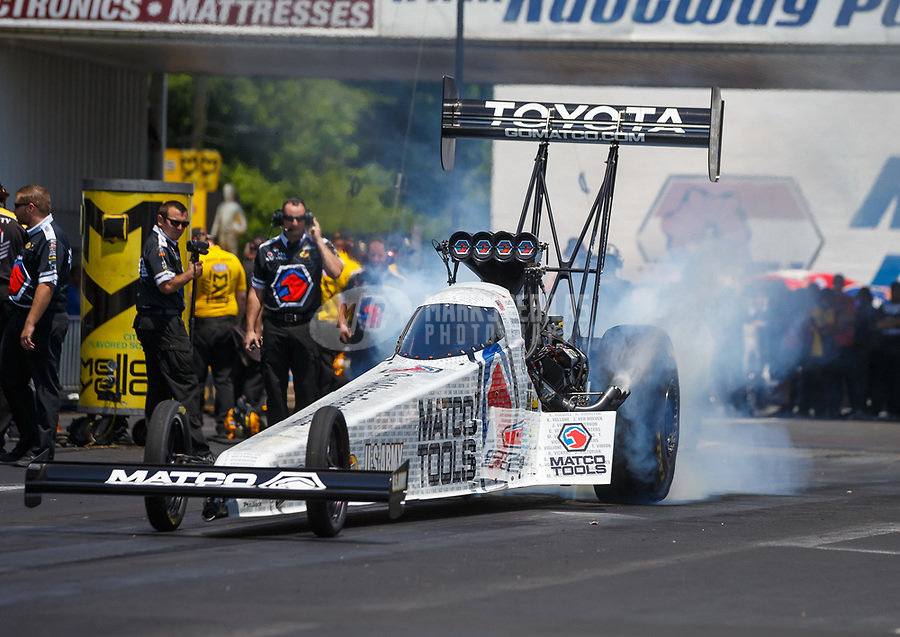 Jun 11, 2017; Englishtown , NJ, USA; NHRA top fuel driver Antron Brown during the Summernationals at Old Bridge Township Raceway Park. Mandatory Credit: Mark J. Rebilas-USA TODAY Sports