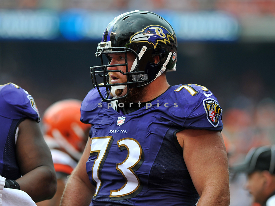CLEVELAND, OH - JULY 18, 2016: Guard Marshal Yanda #73 of the Baltimore Ravens stands on the field in the second quarter of a game against the Cleveland Browns on July 18, 2016 at FirstEnergy Stadium in Cleveland, Ohio. Baltimore won 25-20. (Photo by: 2017 Nick Cammett/Diamond Images)  *** Local Caption *** Marshal Yanda(SPORTPICS)