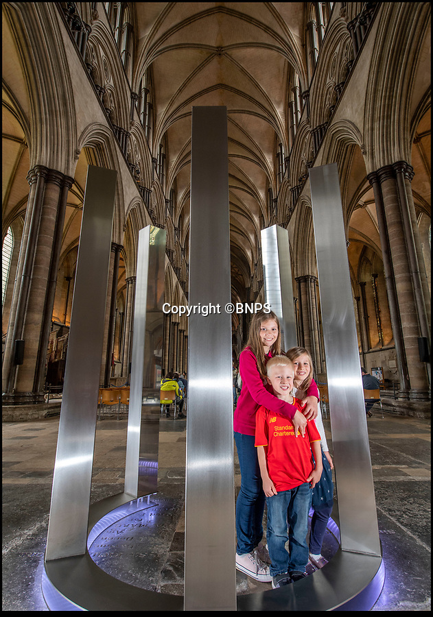 BNPS.co.uk (01202 558833)<br /> Pic: PhilYeomans/BNPS<br /> <br /> Hali, Noa and William Morgan were visiting the Cathedral from Chad.<br /> <br /> BEYOND - A new solo exhibition by award winning international artist Diane Maclean FRSS<br /><br />A solo exhibition by award-winning artist Diane Maclean FRSS opens at Salisbury Cathedral tomorrow.<br /> <br /> Beyond, which is curated by the Cathedral's visual arts adviser Jacquiline Creswell, comprises of eight large-scale pieces in stainless steel or feather-light aluminium sited in the Cathedral space and on the lawns outside.