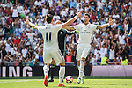Cristiano Ronaldo of Real Madrid celebrates with teammate Gareth Bale during the La Liga match between Real Madrid and Osasuna at the Santiago Bernabeu Stadium on 10 September 2016 in Madrid, Spain. Photo by Diego Gonzalez Souto / Power Sport Images