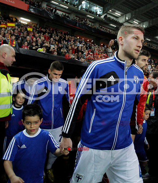 Finland's Toivio during international match of the qualifiers for the FIFA World Cup Brazil 2014.March 22,2013.(ALTERPHOTOS/Victor Blanco)