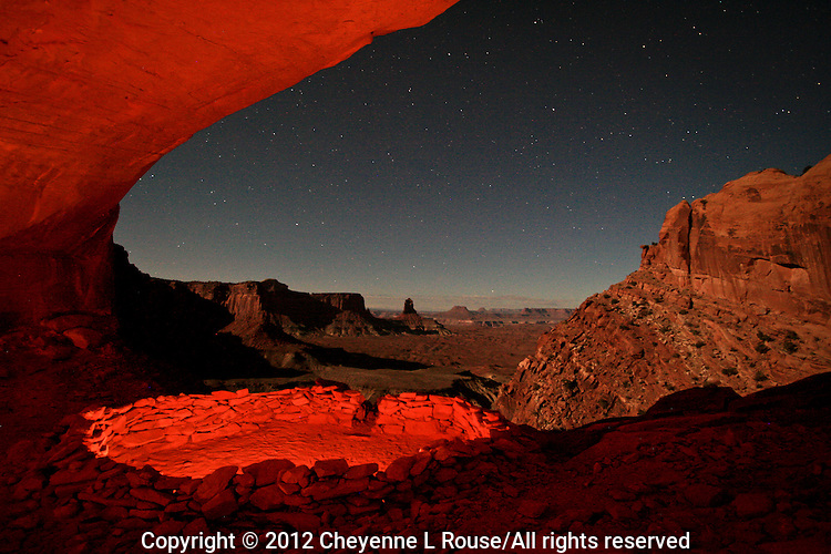 Timeless Vision - Ancient cultural site in the Four Corners region of the American Southwest - Alcove. Night shot w/ stars.