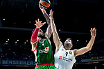Real Madrid Felipe Reyes and Kirolbet Baskonia Vincent Poirier during Turkish Airlines Euroleague match between Real Madrid and Kirolbet Baskonia at Wizink Center in Madrid, Spain. October 19, 2018. (ALTERPHOTOS/Borja B.Hojas)