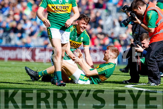 David Clifford and Niall Donohue Kerry players celebrate after defeating Derry in the All-Ireland Minor Footballl Final in Croke Park on Sunday.
