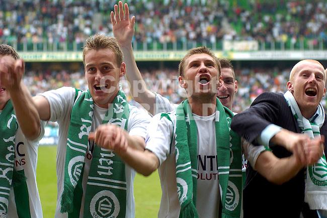 groningen - utrecht 20-05-2007 play off eredivisie seizoen 2006-2007 kolder, levchenko en meerdink.fotograaf Jan Kanning