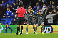 Leicester City's Jamie Vardy and James Maddison appeal with referee Lee Probert for hand ball<br /> <br /> Photographer Kevin Barnes/CameraSport<br /> <br /> The Premier League -  Cardiff City v Leicester City - Saturday 3rd November 2018 - Cardiff City Stadium - Cardiff<br /> <br /> World Copyright © 2018 CameraSport. All rights reserved. 43 Linden Ave. Countesthorpe. Leicester. England. LE8 5PG - Tel: +44 (0) 116 277 4147 - admin@camerasport.com - www.camerasport.com