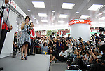 Actress Aya Ueto, who is the image character of mobile carrier SoftBank, appears at a promotional event of Apple Computer's iPhone in Tokyo. 11 July, 2008. (Taro Fujimoto/JapanToday/Nippon News)