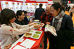 Exhibitors show their products at the Mexico booth during the 42nd International Food and Beverage Exhibition (FOODEX JAPAN 2017) in Makuhari Messe International Convention Complex on March 8, 2017, Chiba, Japan. About 3,282 companies from 77 nations are participating in the Asia's largest food and beverage trade show. This year organizers expect 77,000 visitors for the four-day event, which runs until March 10. (Photo by Rodrigo Reyes Marin/AFLO)