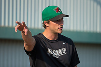 Great Falls Voyagers pitching coach John Ely (23) gives instruction in the bullpen prior to the game against the Helena Brewers at Centene Stadium on August 18, 2017 in Helena, Montana.  The Voyagers defeated the Brewers 10-7.  (Brian Westerholt/Four Seam Images)