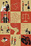 Montage illustration showing different aspects of relationships and life
