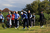 Steven Fisk (USA), Cole Hammer (USA), Thomas Plumb (GB&I) and Thomas Sloman (GB&I) on the 6th tee during Day 2 Foursomes of the Walker Cup, Royal Liverpool Golf CLub, Hoylake, Cheshire, England. 08/09/2019.<br /> Picture Thos Caffrey / Golffile.ie<br /> <br /> All photo usage must carry mandatory copyright credit (© Golffile | Thos Caffrey)