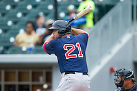 Alex Hassan (21) of the Pawtucket Red Sox at bat against the Charlotte Knights at BB&T Ballpark on August 10, 2014 in Charlotte, North Carolina.  The Red Sox defeated the Knights  6-4.  (Brian Westerholt/Four Seam Images)