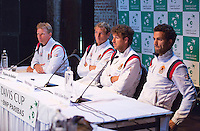 13-09-12, Netherlands, Amsterdam, Tennis, Daviscup Netherlands-Swiss, Draw, Dutch team,: ptr: captain Jan Siemerink, Thiemo de Bakker, Robin Haase and Jean-Julien Rojer.