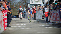 77th Flèche Wallonne 2013..Andy Schleck (LUX) on his way to the finishline while another rider is going down already