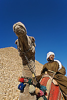 Camel rider in front of Cheops, The Great Pyramid, Giza, Egypt