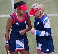 Elena Baltacha, Anne Keothavong..Tennis - OLympic Games -Olympic Tennis -  London 2012 -  Wimbledon - AELTC - The All England Club - London - Monday July 30th  2012. .© AMN Images, 30, Cleveland Street, London, W1T 4JD.Tel - +44 20 7907 6387.mfrey@advantagemedianet.com.www.amnimages.photoshelter.com.www.advantagemedianet.com.www.tennishead.net