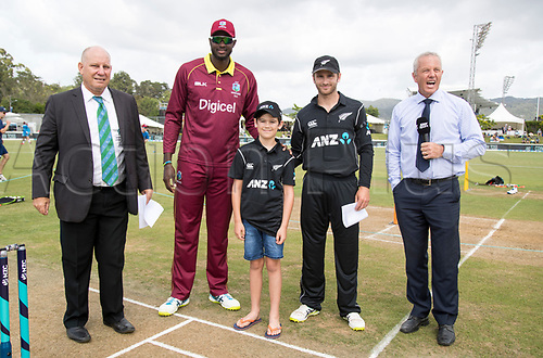 20th December, 2017, Whangarei, New Zealand;  ANZ Coin Toss winner James Bailey with Kane Williamson and James Holder. New Zealand Black Caps versus West Indies, first One Day International cricket, Cobham Oval, Whangarei, New Zealand. Wednesday, 20