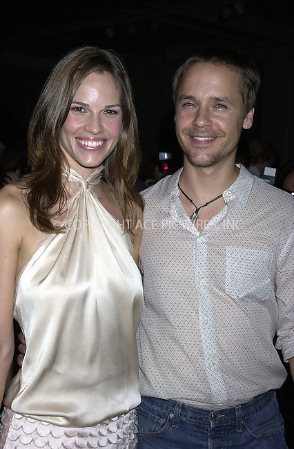 Mercedes-Benz Fashion Week Spring 2004 -- Marc Jacobs Fashion Show -- pictured Hilary Swank and Chad Lowe. New York, September 15, 2003. Please byline: NY Photo Press.   ..*PAY-PER-USE*      ....NY Photo Press:  ..phone (646) 267-6913;   ..e-mail: info@nyphotopress.com