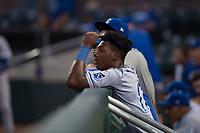 AZL Royals left fielder Isaiah Henry (17) during an Arizona League game against the AZL Giants Black at Scottsdale Stadium on August 7, 2018 in Scottsdale, Arizona. The AZL Giants Black defeated the AZL Royals by a score of 2-1. (Zachary Lucy/Four Seam Images)