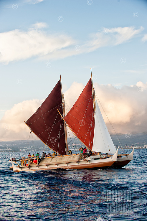 The Polynesian voyaging canoe Hokule'a under sail with Punahou teachers aboard, Honolulu, O'ahu, May 24, 2013.
