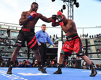 """CARSON, CA- MARCH 9: EFE AJAGBA vs AMIR MANSOUR fight during the Fox Sports """"PBC on Fox"""" Fight Night at Dignity Health Sports Park on March 9, 2019 in Carson, California. (Photo by Frank Micelotta/Fox Sports/PictureGroup)"""
