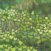 Living Wall, a waterjet mosaic, shown in shades of green Serenity glass, is part of the Broad Street™ collection.