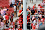 Jan Oblak of Atletico de Madrid warms up during La Liga match between Atletico de Madrid and SD Eibar at Wanda Metropolitano Stadium in Madrid, Spain.September 01, 2019. (ALTERPHOTOS/A. Perez Meca)