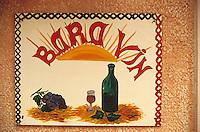"""Europe/France/Corse/2B/Haute-Corse/Cap Corse/Nebbio/Saint-Florent: Enseigne du bar à vin """"Le Baravin"""" place de l'ancienne poste"""