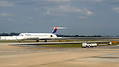 A Delta flight arrives into Atlanta Hartsfield-Jackson International Airport (ATL) in Atlanta, Georgia on Sunday October 2, 2005. The Atlanta based airlines filed for bankruptcy on Wednesday September 14, 2005, citing rising fuel costs $60 - $70 per barrel) and high cost structures in a low-fare world. Photo by Jane Therese/Sipa