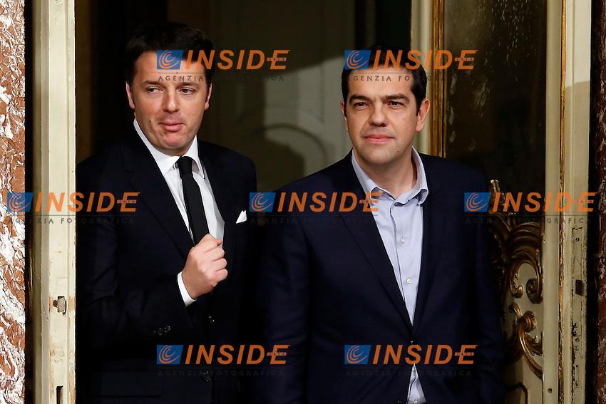 Matteo Renzi e Alexis Tsipras<br /> Roma 03-02-2015 Palazzo Chigi. Il Presidente del Consiglio incontra il Primo Ministro greco.<br /> Italian premier meets greek Prime Minister.<br /> Photo Samantha Zucchi Insidefoto