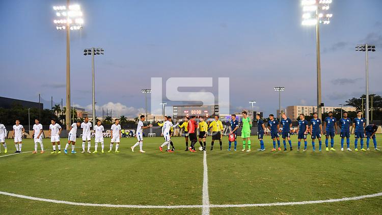 Miami, FL - Tuesday, October 15, 2019:  USMNT U-23 Starting XI during a friendly match between the USMNT U-23 and El Salvador at FIU Soccer Stadium.